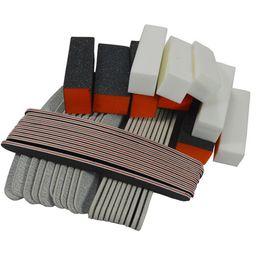 $enCountryForm.capitalKeyWord NZ - 40PCS Nail Art Care Sets Sanding Buffer Black Orange Block Color Files Manicure Pedicure Tools Kits Free Shipping