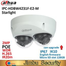 2mp Ip Camera Dome Dahua Australia - Dahua starlight Dome IP camera IPC-HDBW4231F-E2-M 2x 2MP POE H.265&H.264 IR20m IK10 IP67 Micro SD memory 128G Smart Detection