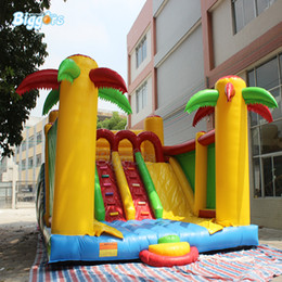 inflatable new game Australia - New Design Palm Tree Child Interest Play Slide Inflatable Slide Jumping Slide Water Game for Sale