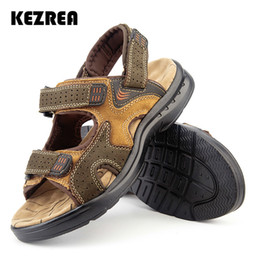 Male Leather Sandals Canada - Kezrea Men's Sandals Slippers Genuine Leather Cowhide Male Summer Shoes Outdoor Casual Suede Leather Sandals for Men 2018