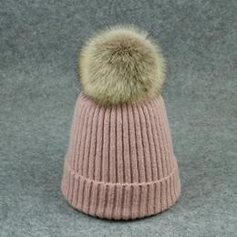 46ea94a7faa Women Kids Beanie Hat Child Faux Fur Pom Pom Cap Winter Warm Wool Knitted Hair  Pompon Hats Female Girls Boys Skullies Hats