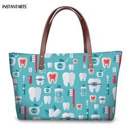 Zipper Teeth Australia - 2019 Fashion INSTANTARTS Famous Brand Woman Large Tote Bags Fashion Dentist Teeth Printing Female Handbags High Quality Travel Shoulder Bags