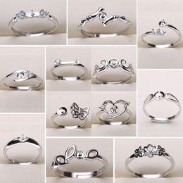 Impostazioni dell'anello di perle fai da te Impostazioni degli anelli di argento 925 20 stili Anelli fai-da-te Dimensioni regolabili Impostazioni gioielli Gioielli di Natale in Offerta