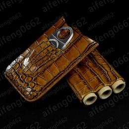 scissor designs NZ - High quality workmanship unique design COHIBA three Cigar Crocodile Leather cigar holster cases Humidors with Cigar scissors  Cytters