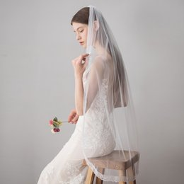 Hot veils online shopping - Babyonline New Hot Sell T Ivory Lace Short Bridal Wedding Veil Fingertip Western Wedding Accessories CPA1432