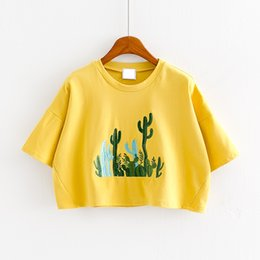 Cropped Tees Canada - Summer Sweet Embroidery Cactus Loose T Shirt Student Casual Short-sleeved Crop Tops Bright Yellow Pink Blue Women Short Tees