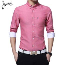 Textile Slim Fit UK - KUAMAI Fashion Casual Men Shirt Long Sleeve Collar Slim Fit Shirt Men Oxford Textile Mens Dress Shirts Men Clothes 5XL