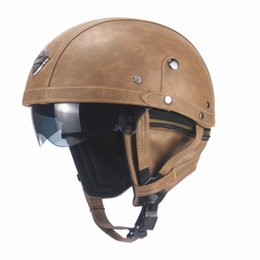 dual lens half helmet Australia - Motorcycle Motorbike Half PU Leather Retro Motorcycle Motocross Helmet Visor with Collar Open Face Half Motor with dual lens