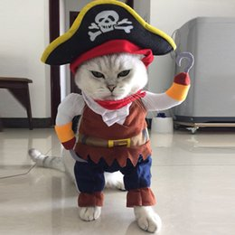 Cat Hat Ornaments Australia - 2018 New arrival Funny Pirate style Costumes Uniform Suit Pet Clothes Dogs cats hat Pet Supplies for Small Dog Cat Christmas Pet costumes