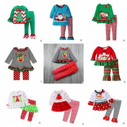 Wholesale Kids Girls Christmas Clothing Sets Xmas Ins Outfits Cotton Floral Striped Suits Children Baby Long Sleeve Dress Outfits fashion Clothes YL21