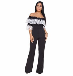 $enCountryForm.capitalKeyWord NZ - Flower Embroidery Half Sleeve Wide Leg Jumpsuit Women Slash Neck Off Shoulder One Piece Romper Plus Size Long Overall Black Blue