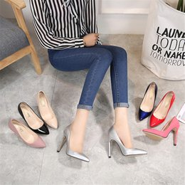 Cute Wedding Shoes NZ - Wedding thin ultra high heels bottom pointed toe shallow mouth single shoes women sexy stiletto comfort cute summer Spring female bridal