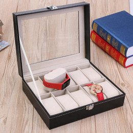 Luxury Display Cases Canada - Fashion 10 Grids PU Leather Watch Boxes Storage Organizer Box Luxury Jewelry Ring Display Watch Case Black Display Case