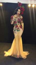 Outfits Nightclub Dress Canada - DS Multicolor Stones Rose Flowers Long Dress Stage Wear Nude Stretch Dress Women Singer Red Green Rhinestones Mash Nightclub Evening Outfit