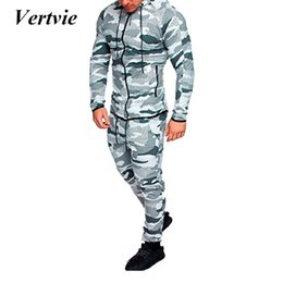 Polyester Jogging Suits NZ - Vertvie 2018 Autumn Men's Running Sets Camo Printed Two Piece Sets Male Sportwear Suits Man Camouflage Tops Jogging Running Set