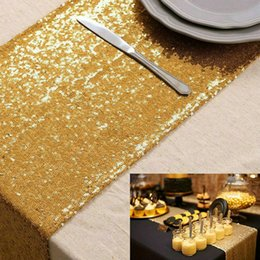 $enCountryForm.capitalKeyWord NZ - ShinyBeauty 12x72 Inch Rectanglar Gold Sequin Table Runner Glitz Table Runners 30x180cm Photography Runners Linen For Wedding Party Decor
