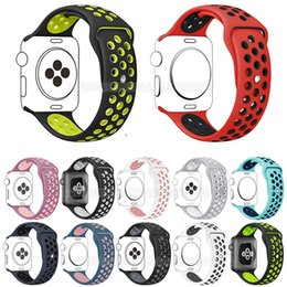 Double banD watch bracelet online shopping - For Apple Watch Bands Silicone Sport Band mm mm Double Color Bracelet Wrist Band Strap for iWatch MM MM Series