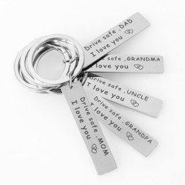 """$enCountryForm.capitalKeyWord NZ - Quotes Keychain Stainless Steel """"Drive Safe Dad,I Love You """" Inspiration Keyrings Hot New Arrival Car Keyring Holder Wholesale"""