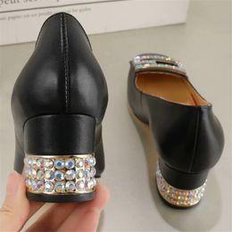 283f2426badf Newest 2018 Square Toe Women Rhinestone Pumps Chunky Heel Genuine Leather  Fashion Shoes Luxury Crystal Party Heels White Black P815