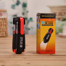 Multi-Screwdriver Torch 8 in 1 Screwdrivers with 6 LED Powerful Torch Tools Light up Flashlight Screw Driver Home Repair Tool CCA10416 50pcs on Sale