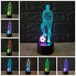 Football Games For Kids Australia - New 2018 football Soccer Game Man 3D LED Night light gift for Children Baby Kid Two Tone Color Change USB Touch Bedroom Sleep