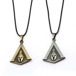 metal colar necklace 2019 - J Store Assassins Creed Odyssey Necklace Bronze Silver Metal Pendant Necklace Men Jewelry Colar Black Rope Chains Colar