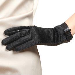 $enCountryForm.capitalKeyWord Australia - Goatskin Genuine Leather Glove Fashion Top Wrist Fur Bowknots Women Thicken Winter Solid Sheepskin Glove Velvet Lining L152NC-5