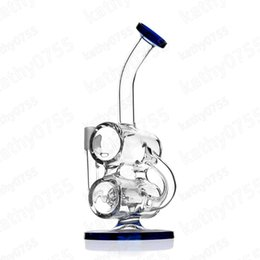 Double Barrel Recycler Bong Canada - New Come Bent Neck glass recycler oil rig Double Barrel Hammerhead Recycler Glass Bong Joint Type: 14mm Male Height: 8.5 WB13