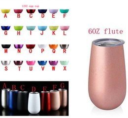 Stainless Tumblers NZ - 6OZ flute 12OZ Egg Cups Wine Glasses tumblers double wall Stainless steel Vacuum Insulation Mugs with lid
