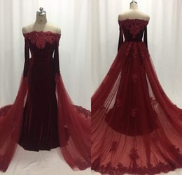 Spring Women Velvet NZ - Fashion Burgundy Long Sleeve Prom Dresses Off Shoulder Velvet Mermaid Evening Gowns Sweep Train Formal Women Special Occasion Prom Dresses