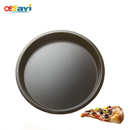 Wholesale Pizza Pans NZ - 1PC Pizza Pan Round Carbon Steel High Quality Non-stick Baking Pan Kitchen tools Baking Mould Metal Cake Mold Pizza