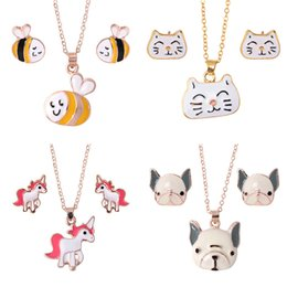 EastEr gifts for dogs online shopping - Animal Jewelry Set Chain Kids Jewelry Cartoon Horse Dog Bee Necklace Earrings jewelry Sets For Girls Best Gifts