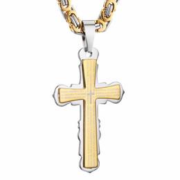 3668ef556ccc Cruz de acero inoxidable Collares colgantes de oro tono negro Fleur-de-lis  Cruz colgante collar de cadena larga bizantina hombres joyería