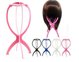 Plastic wig caP online shopping - Folding Plastic Wig Stand Stable Durable Hair Support Display Wigs Hat Cap Holder Tool Rosy Blue Black White Color
