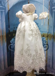 kids dresses for girls 16 NZ - Lovely Lace Appliques Long Christening Dresses For Baby Girl With Short Sleeves Beads Baptism Gown Cheap Kid First Communication Dress