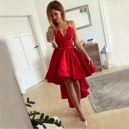 Short Red Lace Prom Vintage Dress Australia - Red High Low Prom Dresses 2018 Sexy Spaghetti Straps A Line Lace Satin Homecoming Dress Fashion Short Front Long Back Cocktail Party Gown