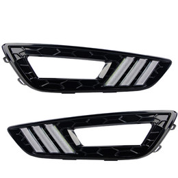 Chinese  LED Daytime Running Car Lights DRL Kit Auto Fog Lamps for Ford Focus Seden Hatchback 2015 2016 2017 Free Shipping manufacturers