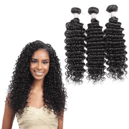 Deep Black Hair Australia - Best-Selling Brazilian Hair Weave New Stylish 1B Natural color Black Deep Wave Hair Can Be Dyed 3 PCS Human Hair Extensions Unprocessed