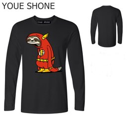 0a66452a Funny Sloth The Flash T shirts men The T-shirt male super hero Red Sloth  tshirt harajuku Tops 100% cotton long sleeve Tee