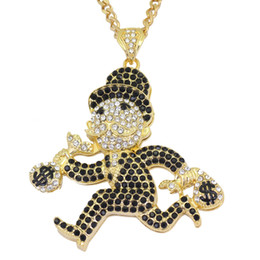 Discount dollar jewelry - Men Iced Out Bling Rhinestone Crystal Gold Silver Plated US Dollars Cartoon Movie pendant Necklace Punk Jewelry