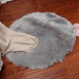 Kitchen Decorators Australia - Artificial Carpet Soft Sheepskin Rug Skins Carpet Seat Pad Round Area Rugs Floor Mat 2 Colors Home Decorator Carpets For Kitchen