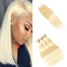 cheap 613 human hair NZ - 9A Cheap Indian Blonde Straight Lace Closure with Bundles 613 Bleach Blonde Human Hair Weave Extensions with Top Closure Dhl Free