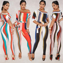 Stripe Knit Fabric Canada - Cross border new products 2018 European and American women's stripes sexy character shoulder sleeve milk-silk knitted fabric jumpsuit women