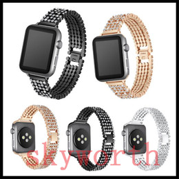 DiamonD straps online shopping - for Apple Watch Stainless Steel Strap with diamond Smart Watch Band Metal Replacement Band mm mm Gold Silver Rose Gold