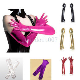 Opera Long Leather Gloves NZ - Women Ladies Sexy Cosplay Shiny Wet Look Enamel Leather Long Gloves Opera Party #R98