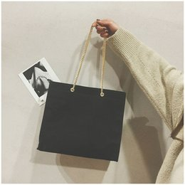 f48b790c1e93 Single Inclined Shoulder Bag Female Handbag Brown Black White Large  Capacity Chain Cosmetic Makeup Canvas Case Pure Color 24xq bb
