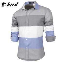 Model long dress casual online shopping - T bird Brand Dress Shirts Mens Striped Flannel Shirt Cotton Slim Fit Chemise Long Sleeve Shirt Men New Model Shirts Tops XK