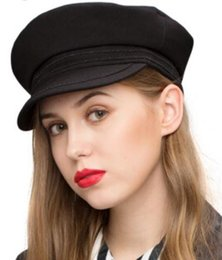 high hat stands NZ - Stand Focus Women High Quality Twill Military Army Cadet Hat Cap Best Shape Great Design Ladies Fashion Fall Winter Flat Braid Deco Black