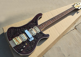 Bass frets online shopping - Dark Brown Electric Bass Guitar with Engraving Pattern Pickups Strings Frets Gold Hardwares Rosewood Fretboard with Star Inlay