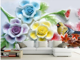 designer kitchen wallpaper UK - 3D embossed flowers and birds background wall painting wall papers home decor designers